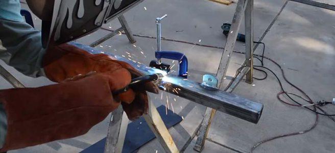 welding a steel gate